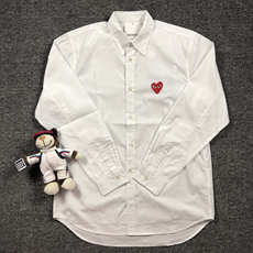 Embroidery cotton love shirt male and female couples wearSichuan Kuan shirt BaoLing YB version of the solid color shirt