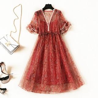 代购2019夏季新款女装蕾丝花边短袖吊带高腰两件套真丝连衣裙超仙