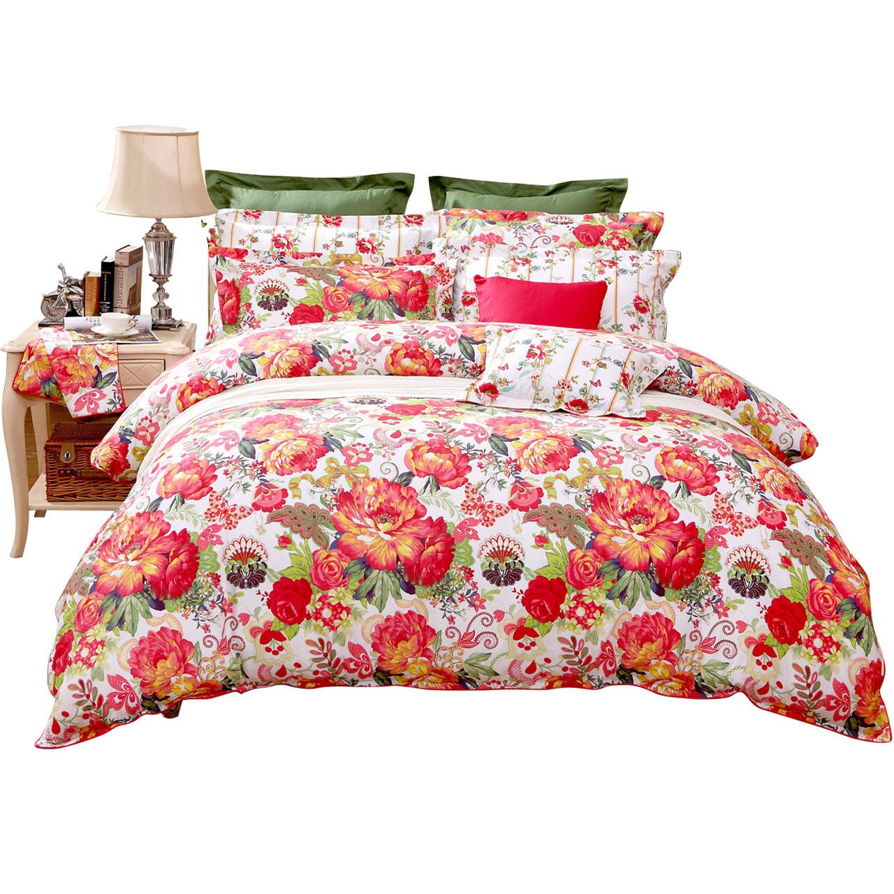 床单被套斜纹正品艳冠群芳 1.5m 床上用品 1.8m 富安娜全棉四件套纯棉