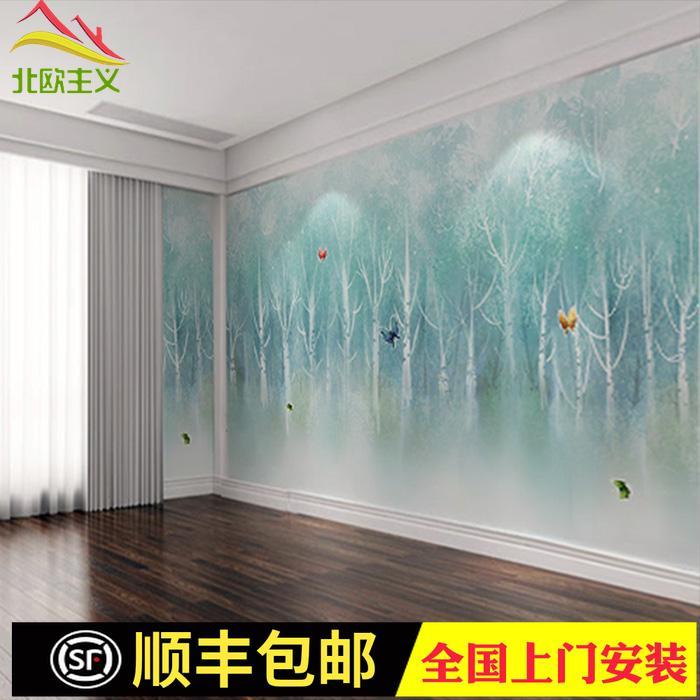 电视背景墙树