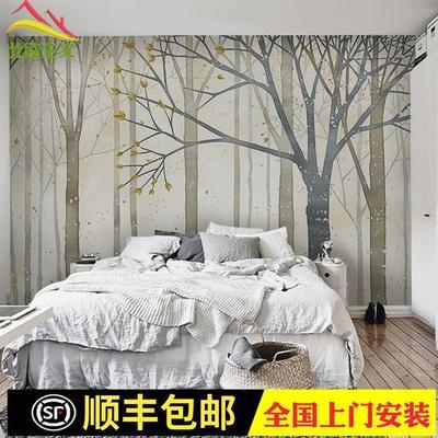 北欧田园森林创意无纺布墙纸现代简约艺术壁纸电视背景墙定制壁画有实体店吗