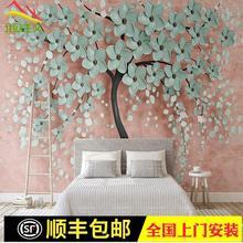 3d立体新款一棵树现代北欧花朵电视沙发背景墙无纺布定制壁画