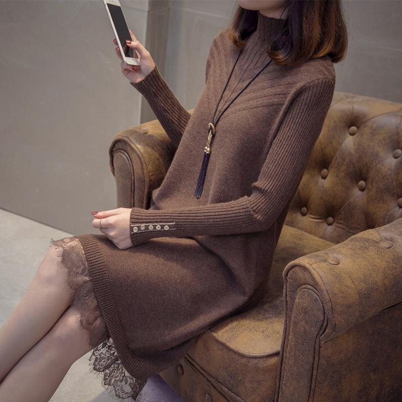 半高领中长款针织连衣裙女春装2019新款很仙的裙子蕾丝打底毛衣裙