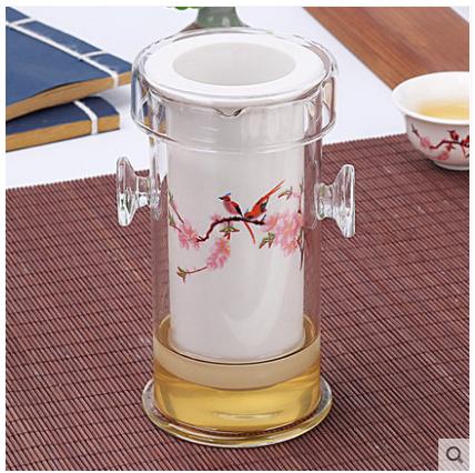过滤陶瓷玻璃泡茶器红茶茶具双层不锈钢内胆花茶茶壶双耳杯