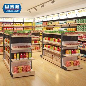 固泰隆钢木超市货架便利店展示架木质商场零食货架精品中岛柜展架