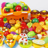 Children's house cut fruit toys kitchen set suit vegetables cut to see boys and girls baby cake music