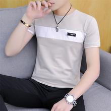 男装 半袖 上衣夏装 男士 韩版 纯棉短袖 t恤冬季薄款 潮流拼接圆领衣服
