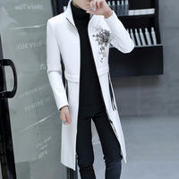 Windbreaker men's spring and autumn long handsome handsome Slim clothes trend student casual jacket men's collar jacket