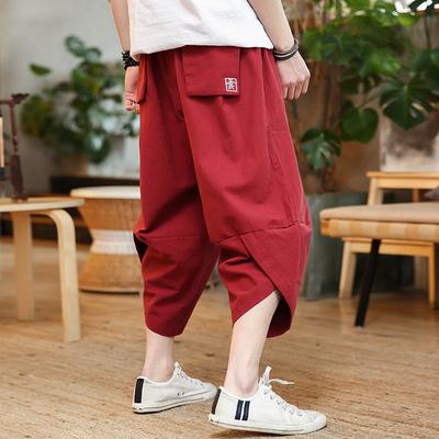 中国风hiphop裤子男宽松大码哈伦裤低裆七分裤夏季时尚刺绣萝卜裤