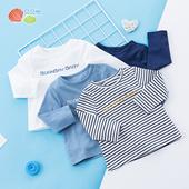 贝贝怡男童长袖T恤2019新款儿童简约纯棉洋气薄款上衣191S2080