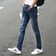 夏季薄款弹力牛仔裤男士修身黑色休闲小脚潮牌破洞男裤子韩版潮流