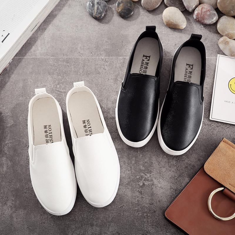 春秋百搭白色护士鞋平底皮面一脚蹬女鞋平跟懒人鞋学生韩版小白鞋