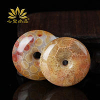 Natural chrysanthemum stone coral jade fossil coral jade peace buckle pendant men and women sweater chain pendant