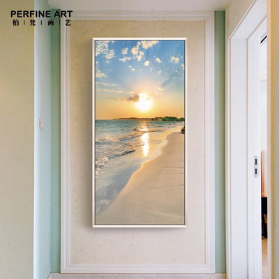 走廊过道装饰画玄关壁挂画简约客厅卧室墙画竖版单幅现代画海风景哪里便宜