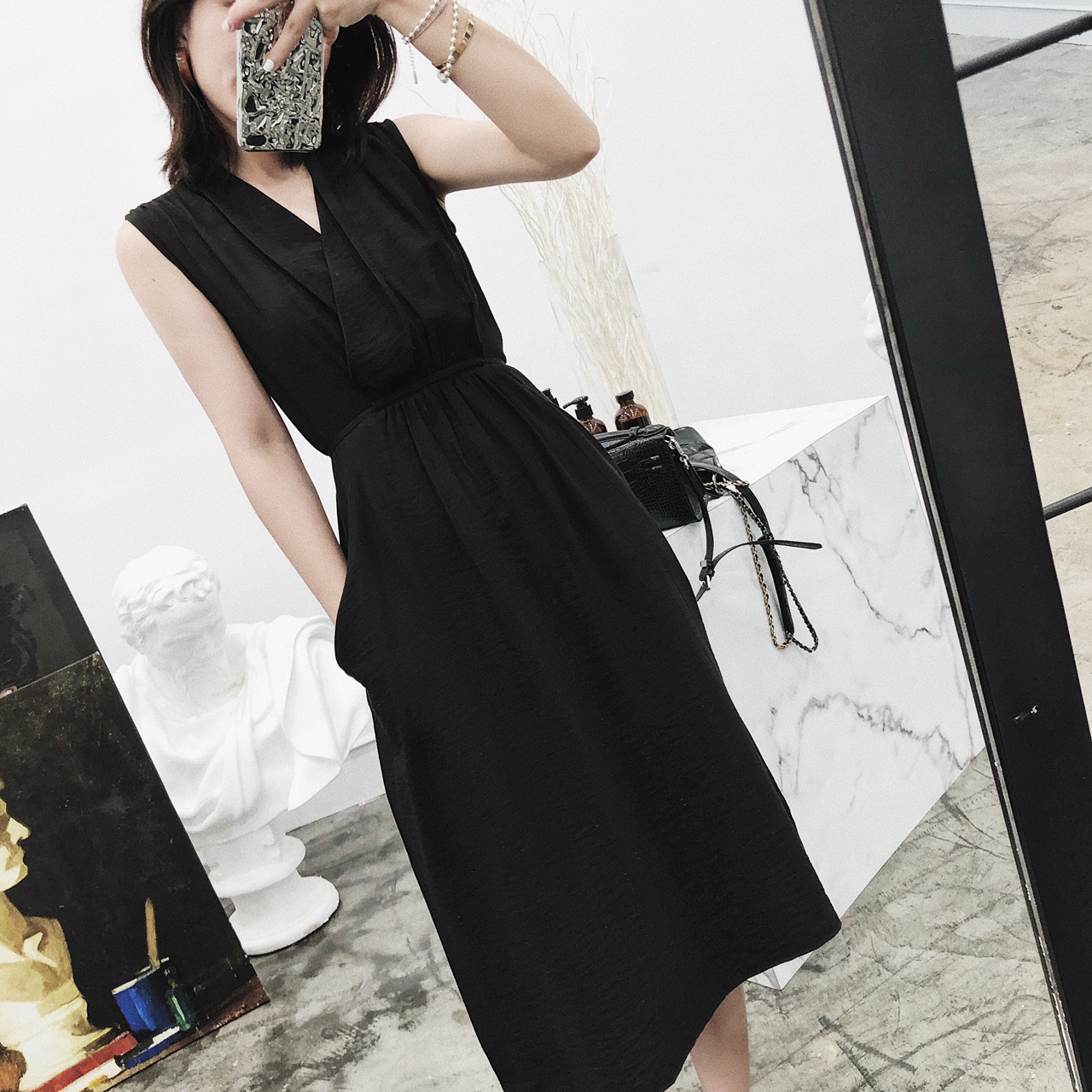V collar cotton and linen dress female summer loose cover belly Tibetan meat a type in the long paragraph ins