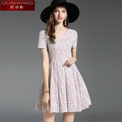 欧洲站裙子女夏纯棉碎花裙新款韩版小清新人造棉连衣裙短款小个子