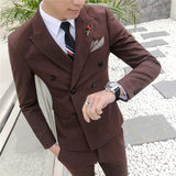 New double-breasted suit three-piece business suit men's casual western decoration body type wedding dress male