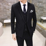 Men's casual suit British style Korean slim stripe double-breasted small suit groom's dress men's fashion