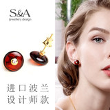S/A Sage Amber Earrings Natural 925 Silver Hypoallergenic Earrings Personality Simple Stud Earrings