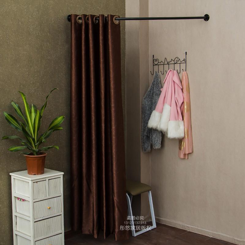 试衣杆圈更衣室间换衣间挂架窗帘架弧形杆直杆弯头杆铁艺