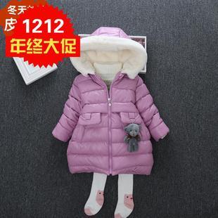 童装年衣女童中长款皮棉衣中小童加厚加绒棉服儿童羽绒棉棉袄新品