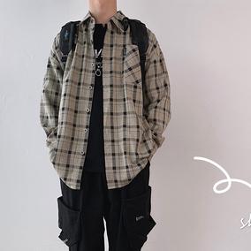 几物男装设计秋季日系复古格子长袖衬衣旋律风车潮流男装百万小店