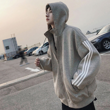Hooded Autumn Sanitary Wardrobe Men's Hip-hop Loose-necked Open-topped Hat Shining Tide Student's Fashion Coat