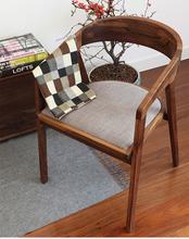 人气欧式餐椅实木软包椅带扶手原木办公椅书椅商用洽谈椅会议椅子