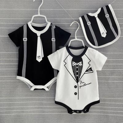 婴儿连体衣服男女宝宝短袖夏装幼儿睡衣0一3个月2薄款1岁夏季夏天