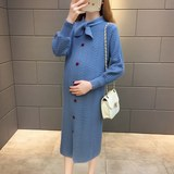 Pregnant women autumn fashion Korean pregnant women sweater autumn and winter shirts in the long paragraph maternity dress knit skirt female dress
