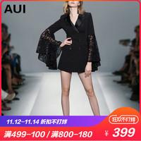 aui2018秋装新款女装黑色喇叭袖西服时尚女神范西装外套女中长款