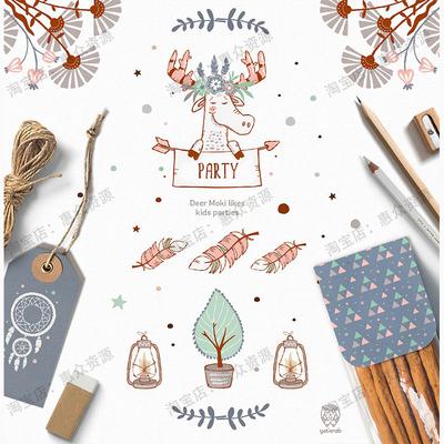 北欧可爱卡通儿童手绘动物生日装饰图案贴纸贺卡片背景矢量ai素材