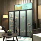 新中式半透守酒练缧关折叠隔断餐厅卧室可移动隔断玉兰花鸟折屏图片