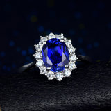 Diana sapphire ring 925 sterling silver plated 18K white gold 2, 5 carat color paracetamstone stone ring women's model