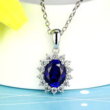 Colored sapphire pendant 925 pure silver-encrusted diamond-encrusted paracetam an jewelry necklace plated 18K gold women's gold