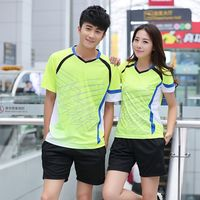 Men and women badminton clothing suit competition suit short-sleeved round neck summer table tennis sportswear quick-drying team uniform buy