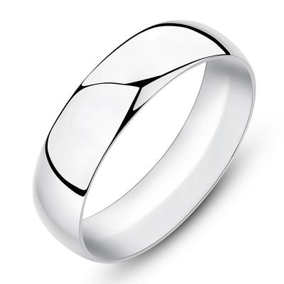 6MM【免费刻字】999足银 男士纯银戒指 光面简约女情侣对戒 尾戒