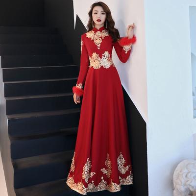 新娘敬酒服2018新款秋冬季红色结婚礼服长袖加厚刺绣答谢宴礼服裙
