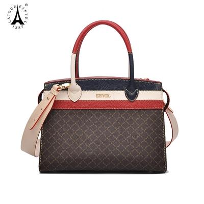 艾菲尔女士手提包女包休闲大气女款包包2018新款时尚拼接斜挎包春