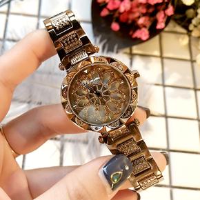 蒂米妮正品2018新款时尚防水女表镶钻抖音热门礼物手表钢带石英表
