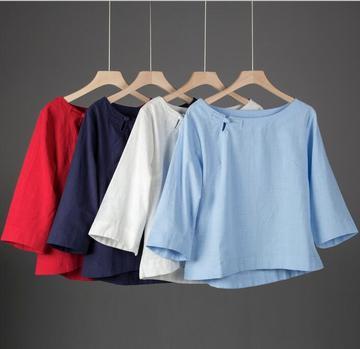 2018年春夏民族风女装衬衫七分袖棉麻短袖T恤宽松百搭亚麻上衣女