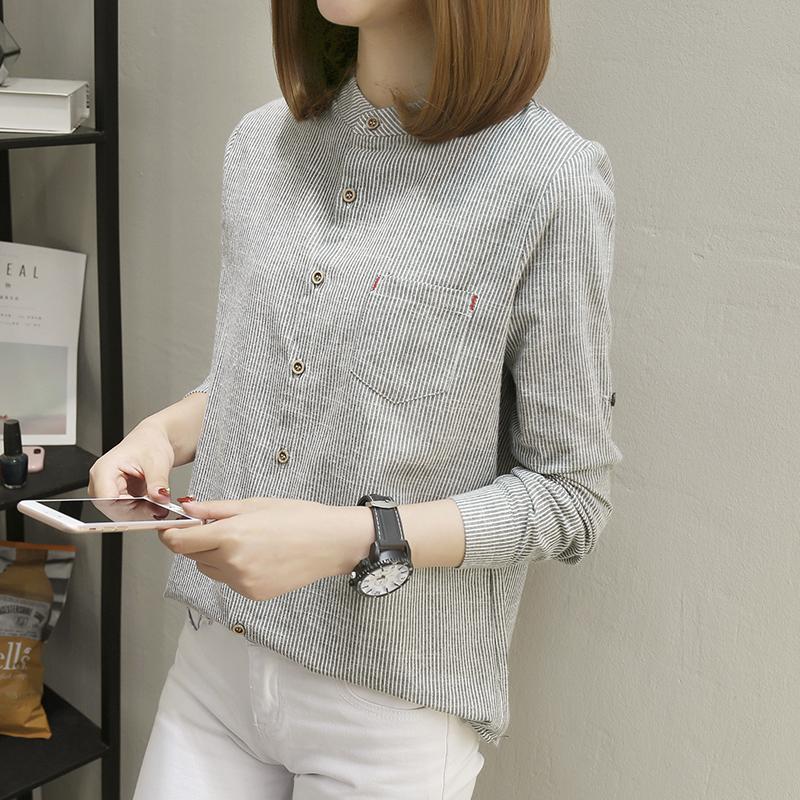秋装女2018 new Korean version of the vertical stripes blouse long-sleeved stand collar loose hundred