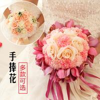 新娘手捧花结婚新款 仿真韩式婚礼玫瑰花束影楼拍摄道具婚庆用品