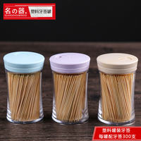 Famous fruit fine toothpicks wholesale bamboo household disposable single head restaurant cans boxed toothpick box portable simple