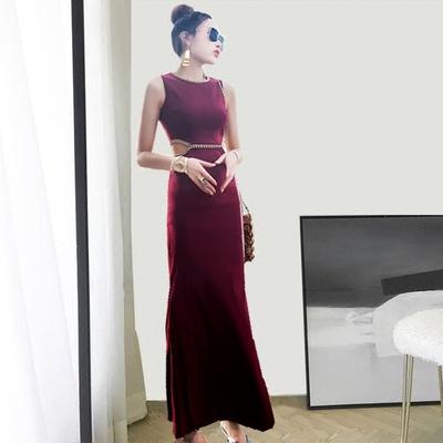 名媛气质裙子女装夏装2018新款高腰一步裙无袖长裙修身紧身连衣裙