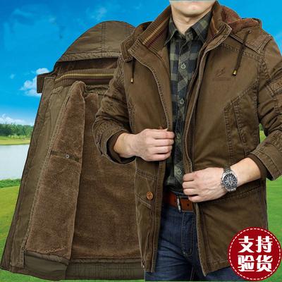 吉普战车可拆卸内胆棉衣中年男中长款冬装纯棉外套大码保暖厚棉袄