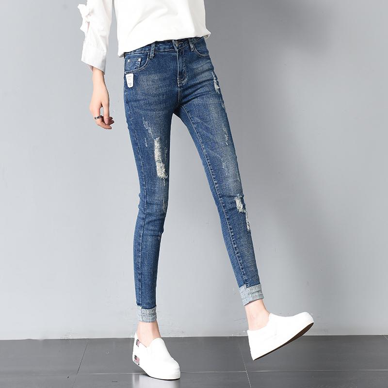 牛仔裤女九分裤2018春季新款韩版破洞显瘦小脚弹力紧身铅笔裤