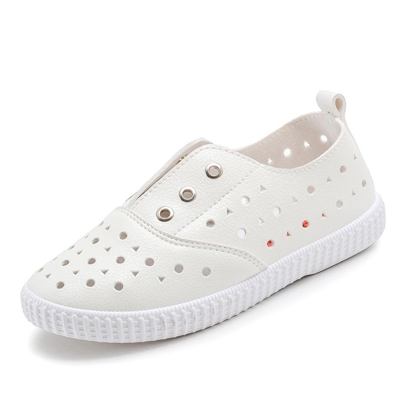 儿童网鞋凉鞋男童女童鞋子白色班会鞋PU皮面百搭春款2017夏季新款