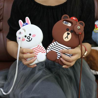 立体熊苹果6手机壳硅胶6s女iphone7/8plus保护套8卡通5s可爱5c兔x