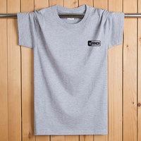 短袖t恤男士中年夏季纯棉圆领宽松运动大码胖子加肥佬薄款半袖衫